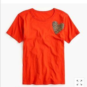 NWOT J. Crew Leopard Heart T-shirt